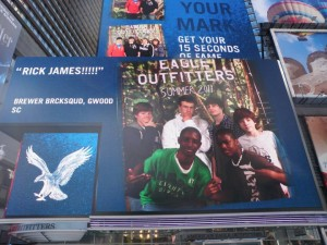 My friends and I got our picture up in Times Square after shopping in American Eagle. Check the funny caption we put on the left side of the screen.