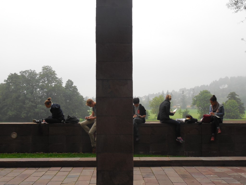 Classmates sketching at the Beyeler Foundation in Switzerland.