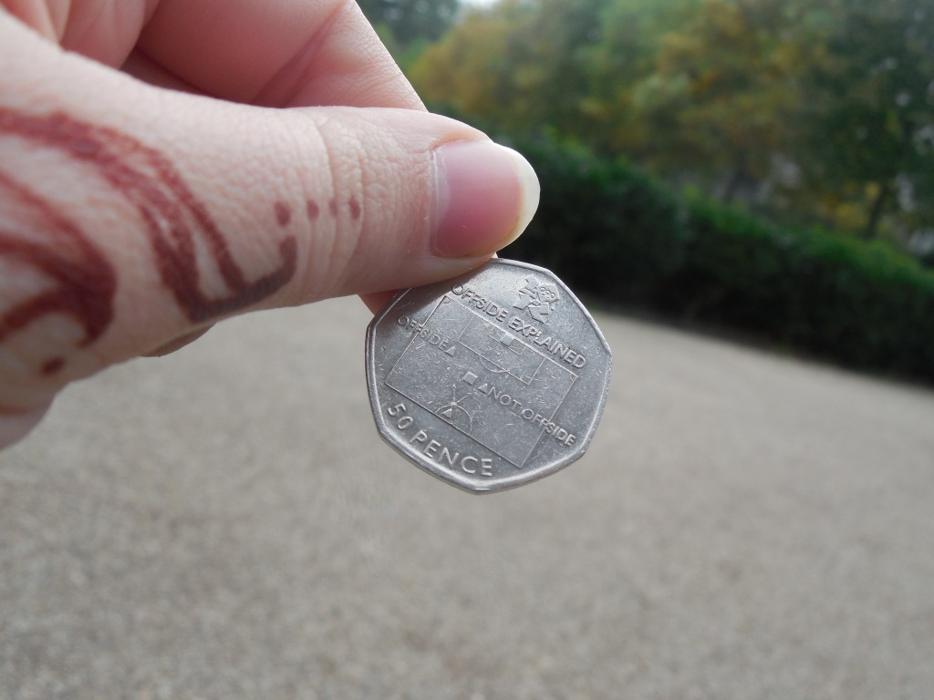 This British coin (50 pence) explains offsides - how funny is that?