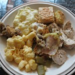 A plate of delicious multinational Thanksgiving food.