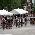 The bikers completing a lap at the Spring Fling in downtown Spartanburg.